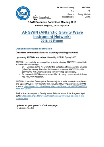 ANGWIN Action Group Report 2019