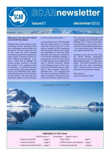 SCAR Newsletter 31 - December 2012