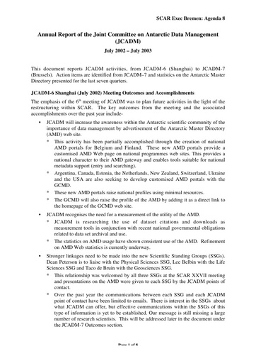 SCAR XXVIII 18a: Report of the Joint Committee on Antarctic Data Management (JCADM)