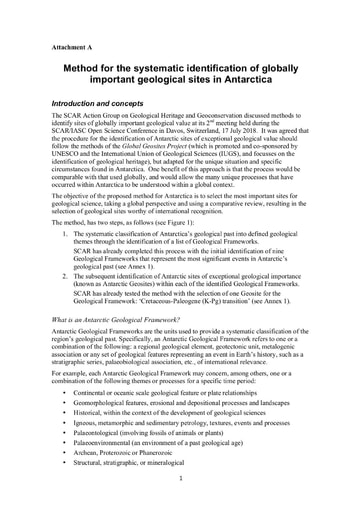 ATT100 to WP034: Method for the systematic identification of globally important geological sites in Antarctica