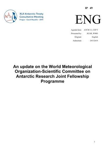 IP049: An update on the World Meteorological Organization-Scientific Committee on Antarctic Research Joint Fellowship Programme