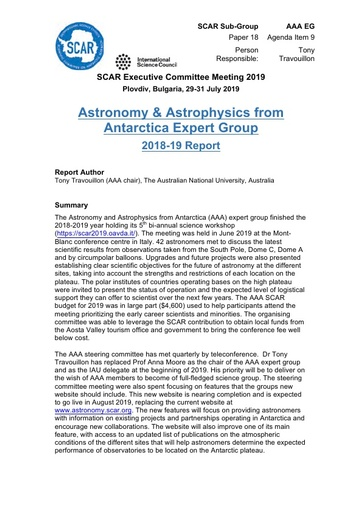 SCAR EXCOM 2019 Paper 18: Report from AAA Expert Group