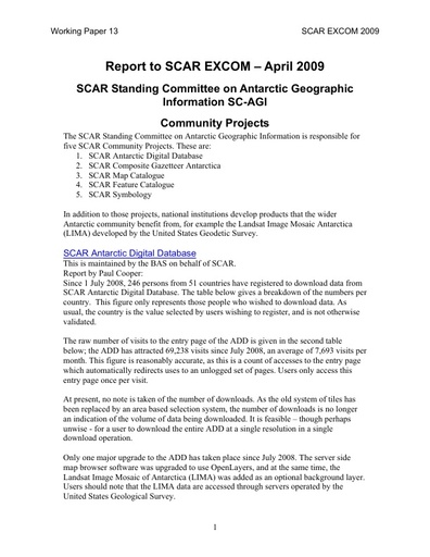 SCAR EXCOM 2009 WP13: Report on the SCAR Standing Committee on Antarctic Geographic Information (SC-AGI)