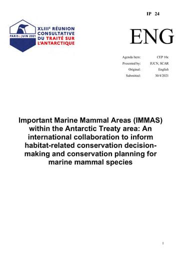 IP024: Important Marine Mammal Areas (IMMAs) within the Antarctic Treaty area