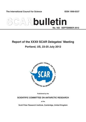SCAR Bulletin 183 - 2012 September - Report of the XXXII SCAR Delegates' Meeting, Portland, USA, 2012