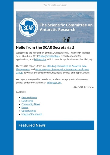 SCAR Newsletter July 2019