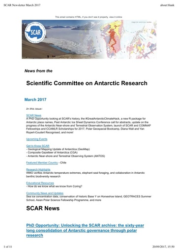 SCAR Newsletter March 2017