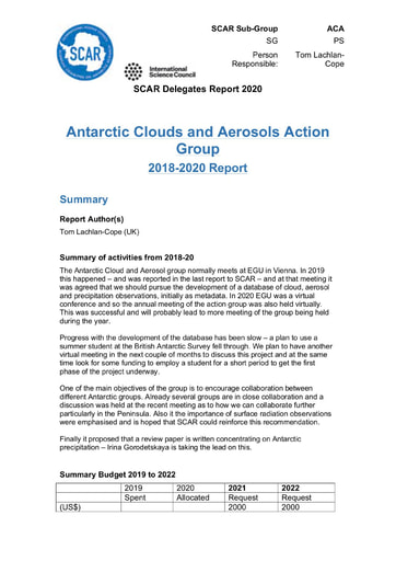ACA Action Group Report 2020