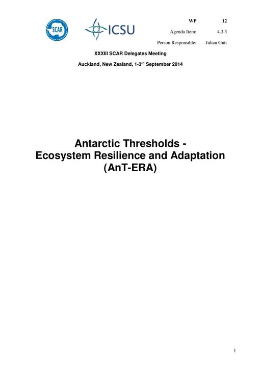 SCAR XXXIII WP12: Report on AnT-ERA (Antarctic Thresholds - Ecosystem Resilience and Adaptation)