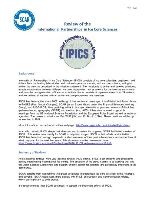 SCAR XXXIV WP06c: Review of the International Partnerships in Ice Core Sciences