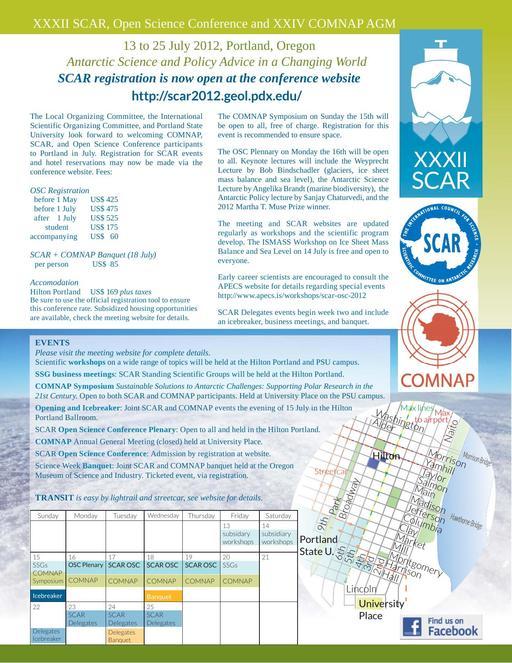 SCAR Open Science Conference 2012 - 3rd Circular