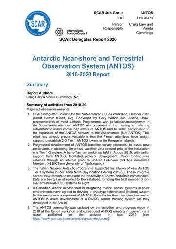 ANTOS Expert Group Report 2020
