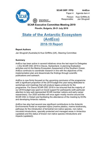 SCAR EXCOM 2019 Paper 4: Report from AntEco SRP
