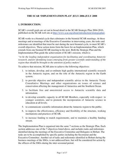 SCAR EXCOM 2007 WP04: The SCAR Implementation Plan