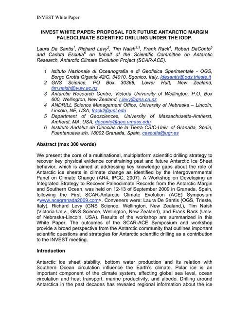 Invest White Paper: Proposal for Future Antarctic Margin Paleoclimate Scientific Drilling under the IODP 2009