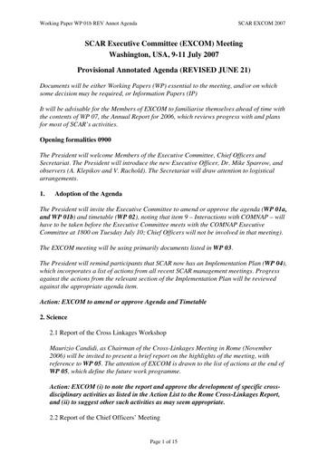SCAR EXCOM 2007 WP01b: Annotated Agenda
