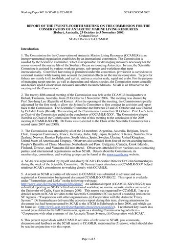 SCAR EXCOM 2007 WP16: Report on SCAR and the Commission for the Conservation of Antarctic Marine Living Resources (CCAMLR)