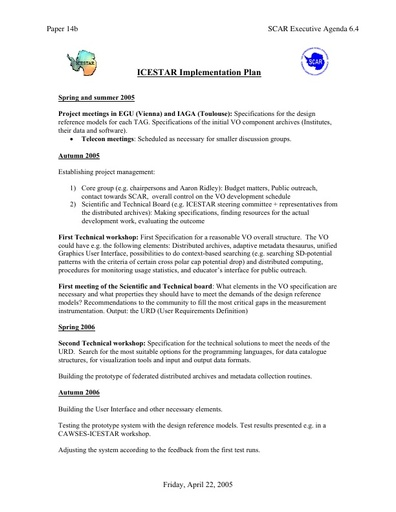 SCAR EXCOM 2005 14: Implementation Plan for Interhemispheric Conjugacy Effects in Solar-Terrestrial and Aeronomy Research (ICESTAR)