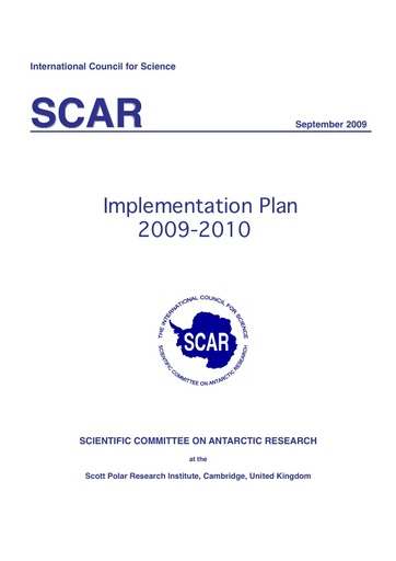 SCAR Implementation Plan 2009-2010
