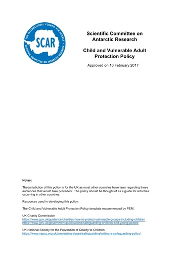 SCAR Child and Vulnerable Adult Policy 2017