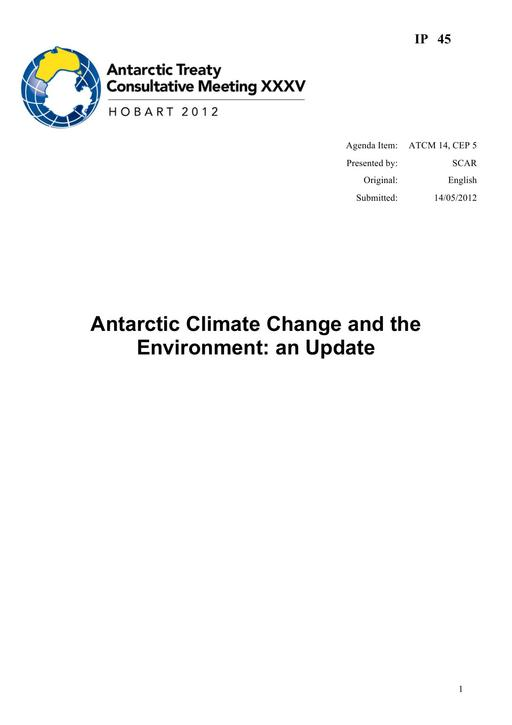 IP045: Antarctic Climate Change and the Environment – 2012 Update