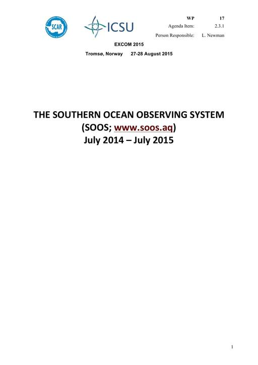 SCAR EXCOM 2015 WP17: Report on the SOOS (Southern Ocean Observing System)