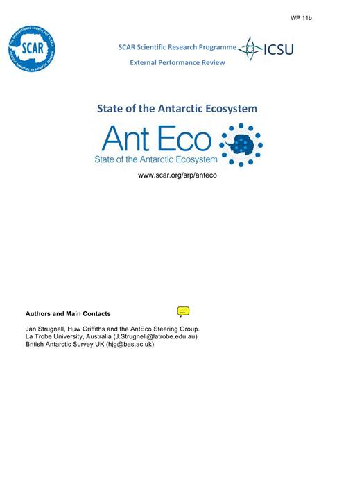 SCAR XXXIV WP11b: AntEco External Review Report - Summary, Recommendations and Response