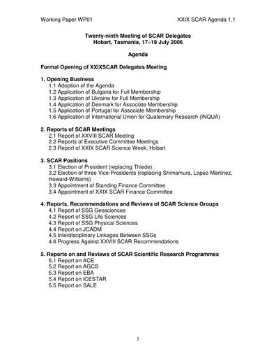 SCAR XXIX WP01: Agenda