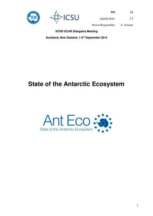 SCAR XXXIII WP11: Report on AntEco (State of the Antarctic Ecosystem)