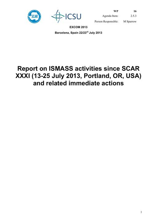 SCAR EXCOM 2013 WP16: Report on ISMASS (Ice Sheet Mass Balance and Sea Level)