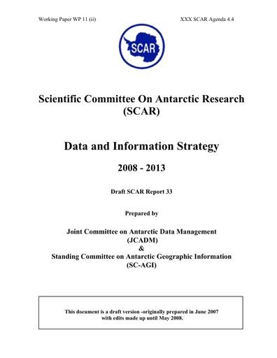 SCAR XXX WP11ii: SCAR Data and Information Strategy 2008 - 2013