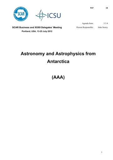 SCAR XXXII WP18: Report of Astronomy and Astrophysics in Antarctica (AAA)