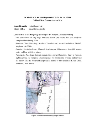 National Report to SCAGI from Korea, August 2014