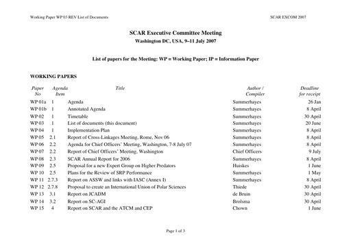 SCAR EXCOM 2007 WP03: List of Documents