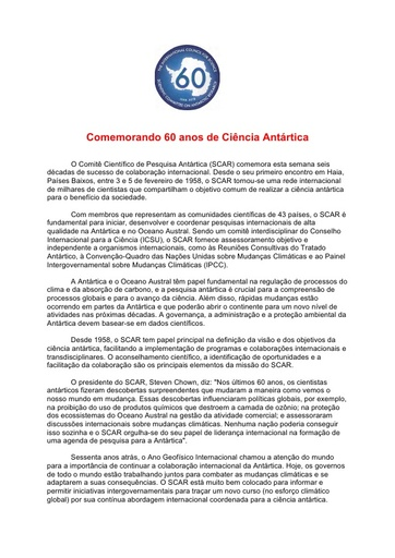 Portuguese version of SCAR's 60th Anniversary Press Release