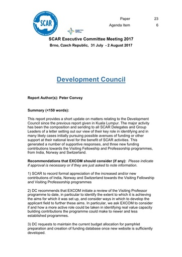 SCAR EXCOM 2017 Paper 23: SCAR Development Council Report