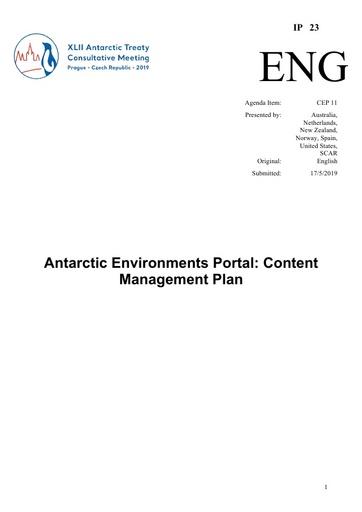 IP023: Antarctic Environments Portal: Content Management Plan