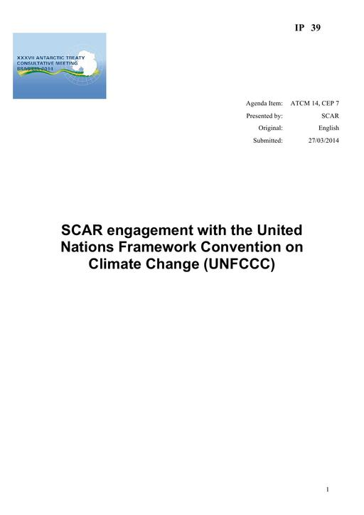 IP039: SCAR Engagement with the United Nations Framework Convention on Climate Change (UNFCCC)