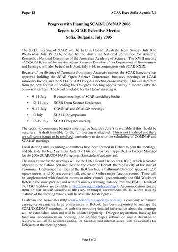 SCAR EXCOM 2005 18a: Arrangements for XXIX SCAR - Planning Progress