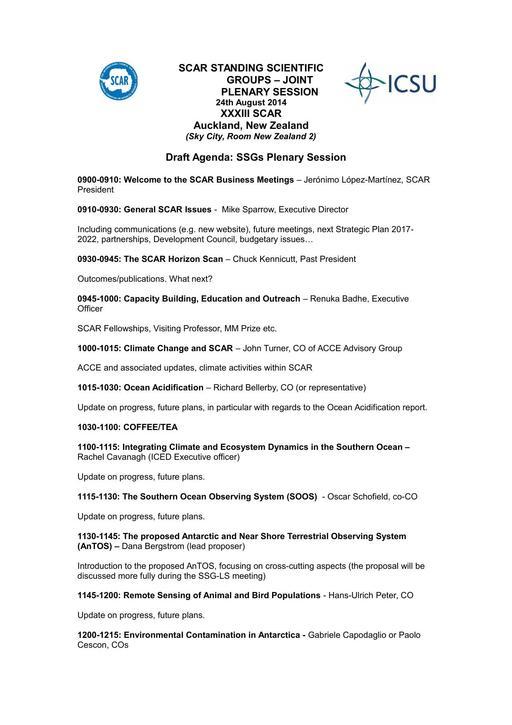 Life Science Plenary Agenda 2014
