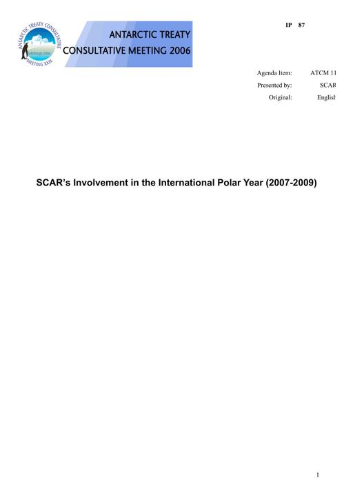 IP087: SCAR's Involvement in the International Polar Year (2007-2009)