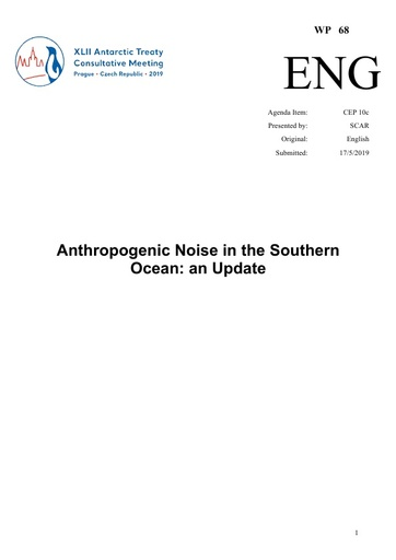WP068: Anthropogenic Noise in the Southern Ocean - an Update