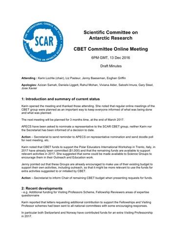 CBET Committee December 2016 Online Meeting Minutes