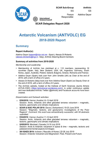 AntVolc Expert Group Report 2020
