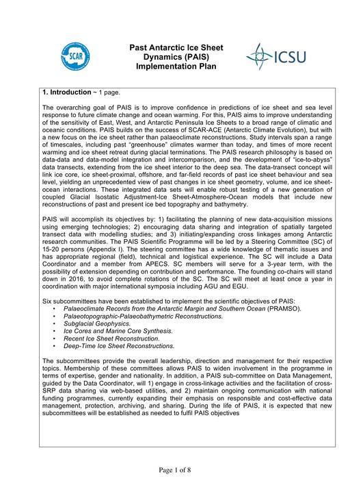 Past Antarctic Ice Sheet Dynamics (PAIS) Implementation Plan 2013
