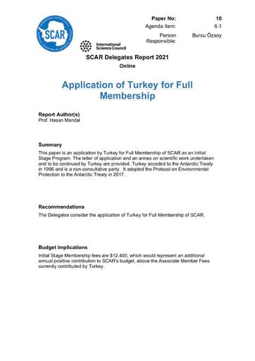 SCAR XXXVI Paper 10: Application of Turkey for Full Membership