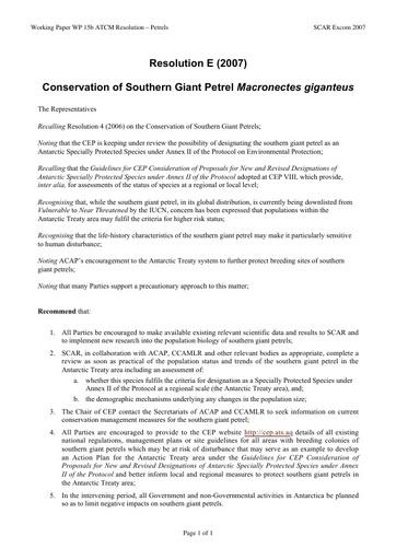 SCAR EXCOM 2007 WP15b: XXX ATCM - Resolution E (2007): Conservation of Southern Giant Petrel Macronectes giganteus