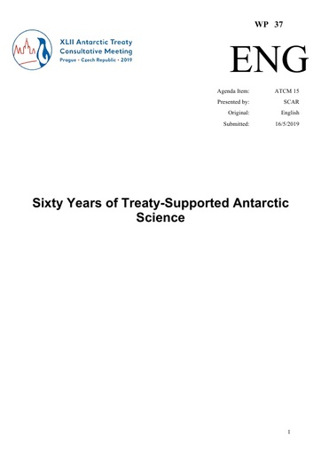 WP037: Sixty Years of Treaty-Supported Antarctic Science