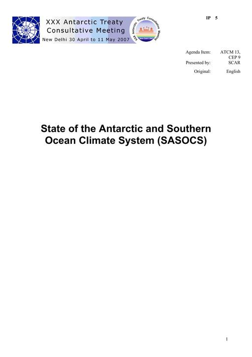 IP005: State of the Antarctic and Southern Ocean Climate System (SASOCS)