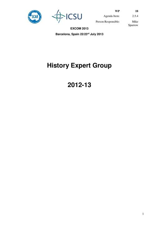 SCAR EXCOM 2013 WP18: Report from the SCAR History Group